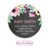 Wonderful Watercolor Blossoms Chalkboard Return Address Sticker