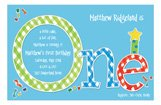 Boy One 1st Birthday Blue Plaid Invitation