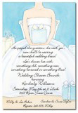 Blue Bride Sitting Bridal Dress Invitation