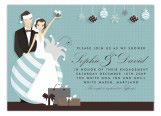 Bride and Groom Ornament Invitation