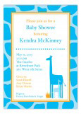 Bright Blue Giraffe Invitation