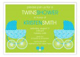Bright Blue Twin Buggies Invitation