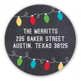 Bright Merry Christmas Lights Round Sticker