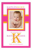 Bright Pink Bold Initial Baby Girl Birth Announcements