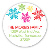 Bright Snowflakes Round Sticker