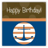 Brown Anchors Away Gift Tag