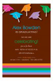Brown Caps and Stripes Graduation Invitation