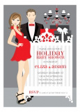 Brunette Classic Crib Couple Holiday Invitation