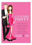 Brunette Cocktail Party Hot Pink Invitation