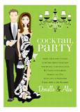 Brunette Cocktail Party Kelly Green Invitation