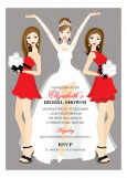 Brunette Holiday Bridal Beauties Invitation