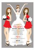 Brunette Holiday Bridal Beauties Invitation