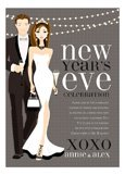 B+W New Year Couple Invitation