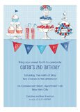 Candy Buffet Blue Patriotic July Invitations