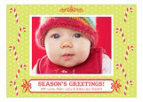 Seasons Greetings Candy Cane Baby Photo Card