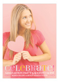 Celebrate In Pink Graduation Photo Card Announcements