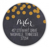 Celebrate the Season Gold Confetti Chalkboard Round Sticker