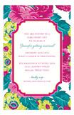 Chartreuse Fuchsia Floral Invitation