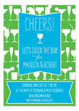 Cheers Turquoise Cocktails Invitation