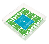 Cheers Turquoise Cocktails Square Lucite Tray