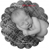 Chevron Christmas Scallop Photo Card