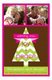 Chevron Holiday Tree Two Photo Card