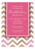 Chevron Pink 30th Birthday Invitations