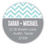 Chic Chevron Aqua Round Sticker