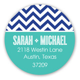 Chic Chevron Blue Round Sticker