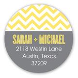 Chic Chevron Yellow Round Sticker
