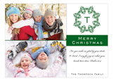 Chic Monogram Green Photo Card