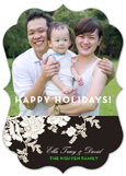 Chocolate and Green Fesitve Floral Photo Card