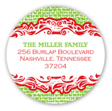 Christmas Burlap Round Sticker