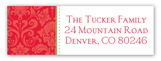 Christmas Damask Address Label