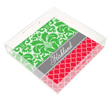 Christmas Damask Square Lucite Tray