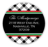 Christmas Gingham Ribbon Round Sticker