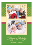 Christmas Plaid Green Photo Card