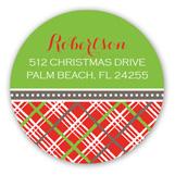 Christmas Plaid Round Sticker
