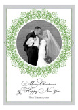 Circle Flourish Green Wedding Photo Card