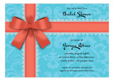 Coral Bow on Turquoise Invitation