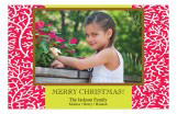 Coral Christmas Photo Card