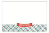 Coral Plaid Banner Flat Note Card