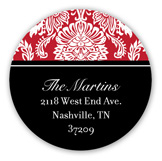 Cranberry Damask Round Sticker