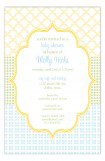 Crazy Quilt Blue Invitation
