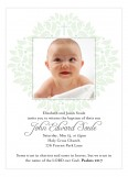Cross and Wreath Green Boy Baptism Photo Card
