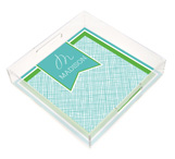 Cross Hatch Square Lucite Tray