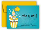 Blue Cupcake Boys One Year Old Invitations