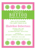 Cute as a Button Pink Baby Shower Invitation