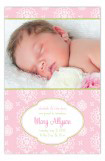 Cute Pink Floral Photo Card