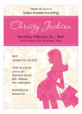 Damask Mommy Pink Invitation
